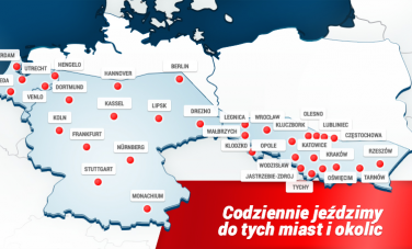 Juzwa busy do Holandii Niemiec Polski Mapa połączeń